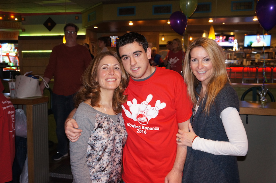 At the annual ACHaD Bowling Bonanza fundraiser were event chair Gloria Jensen (left) with participant Max Newman and his mother, Linda.
