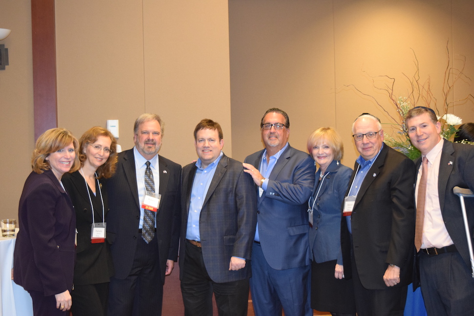 The 47th Annual Middle East Institute featured Israel advocate Frank Luntz and the presentation of JCRC's Israel Advocacy Award to Betsy and Peter Fischer. At the event were (from left), Amy Clayman, JCRC president; Pamela and Robert Benedon, event co-chairs; Frank Luntz, keynote speaker; Honoree Peter Fischer; Eva and Marvin Schlanger, event co-chairs; and David Snyder, JCRC executive director. Honoree Betsy Fischer was unable to attend due to illness. The JCRC is an agency of the Jewish Federation of Southern New Jersey.