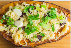 Spiced Rubbed Eggplant with Quinoa. JTA photo by Megan Wolf.