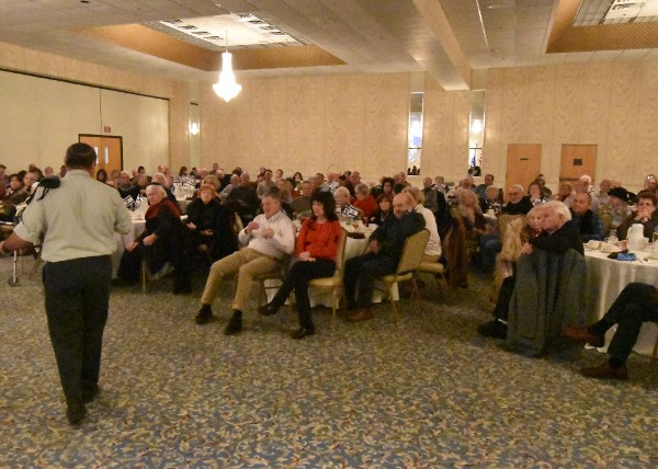 """Approximately 150 community members came to a JCRC luncheon March 6 to hear Israeli intelligence officer """"Shlomi B."""" speak on terrorism. In accordance with IDF protocol, photos of the speaker's face were forbidden."""