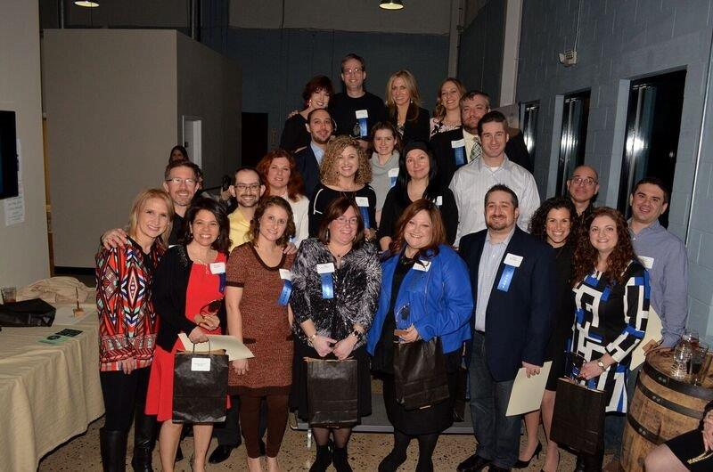 Young volunteer leaders throughout the South Jersey Jewish community gathered together at the Yad b'Yad Award Celebration in honor of their dedication and commitment. Hosted by the Jewish Federation's Young Adult Division (YAD), this event is in its second year and has honored over 40 individuals to date. The honorees were (front row, from left), Donielle Friedenthal (Temple Emanuel), Michelle Gershon (Raquela Hadassah), Melissa Klein (Cong. Sons of Israel), Amy Halickman (Politz Day School), Michal Drabkin (Young Israel of Cherry Hill), Jason Springer (Samost Jewish Family & Children's Service), Jamie Richman (Jewish Community Relations Council), Lisa Kessler (Temple Beth Sholom), (second row, from left), Mark Friedenthal (Jewish Community Foundation, Inc.), Gershon Klein (Cong. Sons of Israel), Jodi Lee Berman (Kellman Brown Academy), Debbie Cohen-Broudy (Temple Sinai), Miriam Gudin (Israeli Chabad Center), Eric Rovner (Jewish Community Voice), Jeff Resnick (Jewish Federation), Evan Zweben (Katz Jewish Community Center), (third row, from left), Jason Schaeffer (Chabad of Camden & Burlington Counties), Rachael Burgess (Cong. B'nai Tikvah-Beth Israel), Daniel Drabkin (Young Israel of Cherry Hill), (back row, from left), Kelly Gorel (Adath Emanu-El), Brian Sattinger (Moorestown Jewish Association), Kim Coffina (Cong. M'kor Shalom), and Sherri Quintero (Cong. Beth Tikvah). Also honored were Suzanne Zimmer (Chabad of Gloucester County) and Shari Shapiro (Cong. Beth El).