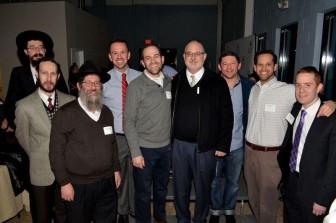 South Jersey rabbis at the Yad b'Yad celebration were (from left), Menachem Kaminker from Israeli Chabad Center, Boaz Marmon from Temple Sinai, Mendy Mangel from Chabad of Camden and Burlington Counties, Nathan Weiner from Cong. Beth Tikvah, Ben David from Adath Emanu-El, Ephraim Epstein from Cong. Sons of Israel, Larry Sernovitz from Temple Emanuel, Micah Peltz from Temple Beth Sholom, and Shalom Shapiro from Cong. Sons of Israel. Also in attendance, but not pictured, were Rabbis Aaron Krupnick and Andy Green of Cong. Beth El