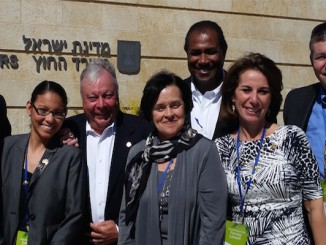 Local elected officials who took part in the State Association of Jewish Federations 2016 New Jersey Legislators' Study Mission to Israel Feb. 25-Mar. 3 were (from left), Assemblyman Chris Brown; Assemblywoman Gabriela Mosquera; Senator Jim Beach; Assemblywoman Patricia Egan Jones; Assemblyman Herb Conaway, Jr.; Mission Co-chair and Jewish Federation of Southern New Jersey Board Member Assemblywoman Pamela Lampitt; with David Snyder, executive director, Jewish Community Relations Council.