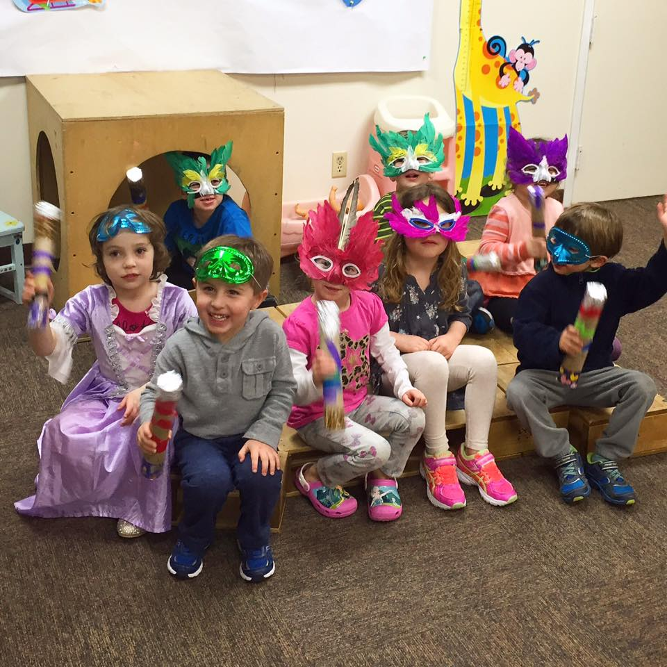 Preschoolers at Congregation Beth Israel displayed their homemade groggers at a free JPlace Purim program for young children earlier this month.  Pictured here, from left in the front row, are Alisa Kalika, Logan Winters, Mira Lutsky, Addie Winters, and Spencer Lutsky. Pictured in the back row, from left, are Michael Simpson, David Simpson, and Emma Carpenter. For more information on the JPlace program for preschoolers contact Cookie Feldman at (609) 641-3600.